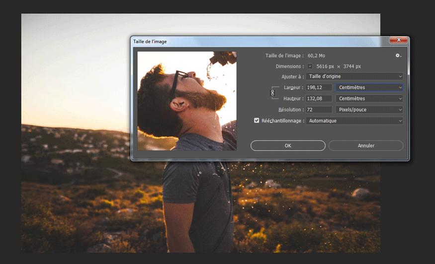 Taille de l'image du nouveau document ouvert sous Photoshop